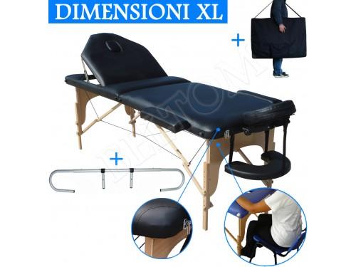 Lettino massaggio nuovo modello Nero + Portarotolo