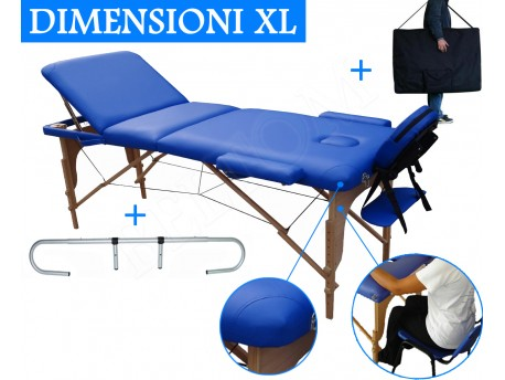 Massage Table 3 section Blue + Paper Roll holder