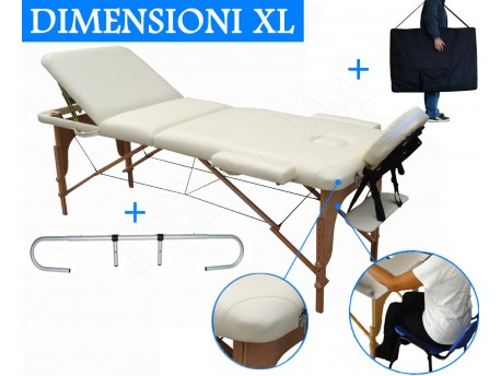 Massage Table 3 section Cream + Paper Roll holder