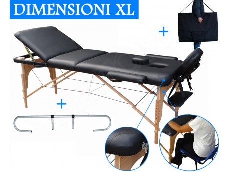 Lettino massaggio 3 zone Nero + Portarotolo