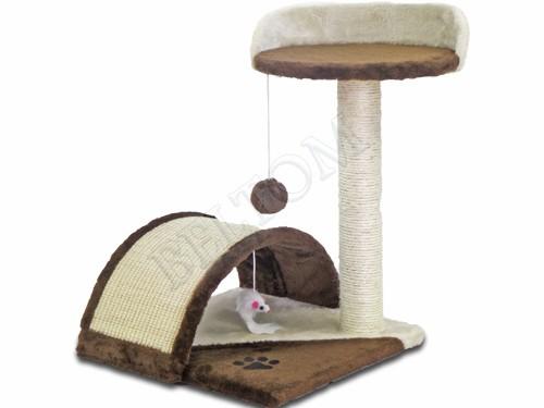 Tiragraffi per gatti con tunnel ripiano e gioco g