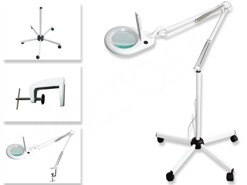 Floor LED Magnifying Lamp 5 Diopter + Clamp